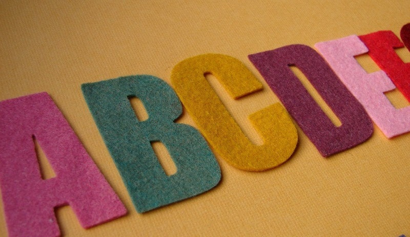 Wool felt alphabet die cut set 2quot tall great for for Wool felt letters