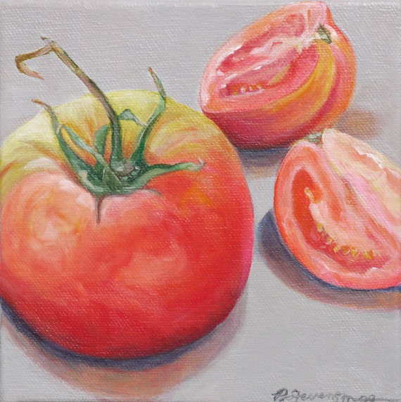 Heirloom Tomatoes Original Acrylic Painting Still Life Wall