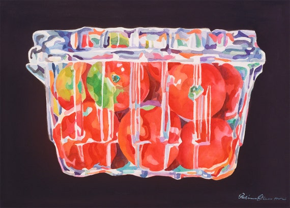 Boxed Cherry Tomatoes Veggie Archival Kitchen Red and Black Art Wall Print