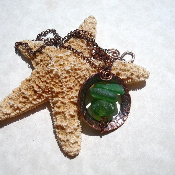 Sea Glass Necklace -Green Seaglass Copper Starfish Stamped Pendant Jewelry