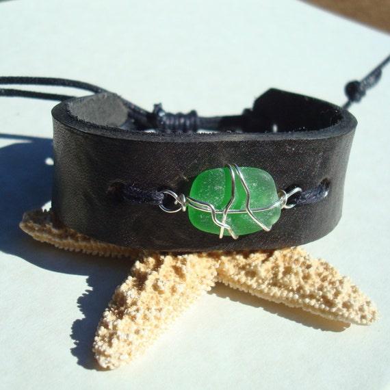 Black Leather Cuff -Sea Glass Bracelet- Green Seaglass Jewelry