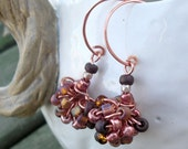 Copper Clusters .. beautiful metallic and matte beads .. hand made ear wires .. Unique signature design by Tipsy Whimsey