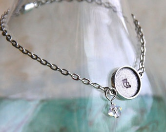 "Cute Owl Silver Chain Bracelet. Hand-stamped. 8-1/4"" oval cable chain w/magnetic clasp. genuine Swarovski crystal charm dangle for Daughter"