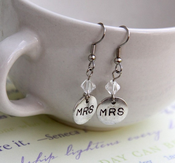 MRS Crystal Earrings .. For The Bride To Be .. silver charms .. wedding, bridal shower or bachelorette gift .. shiny Swarovski Crystals