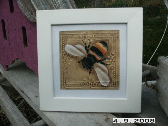 Bumble Bee on Tin Tile Framed