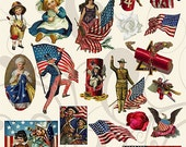 4th of July Patriotic Collage Sheet 14pc