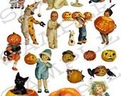 Children and Pumpkins Collage Sheet 1cp