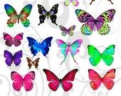 Fantasy Butterflies Collage Sheet 1fb You Will Get a Jpeg Sheet as Well as Individual Png Images