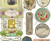 Old Perfume Labels Collage Sheet 1ac You Will Get a Jpeg Sheet as Well as Individual Png Images