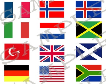 Flags Of The World Collage Sheets Set of 3  1 FR