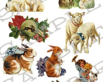 Spring Bunnies Goat n Sheep Collage Sheet