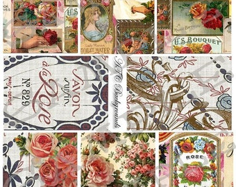 ATC Backgrounds Floral Collage Sheet 1abf