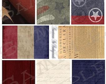 Americana ATC Sized Backgrounds Collage Sheet 1
