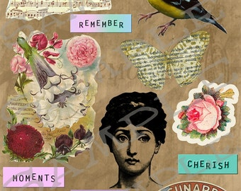 Vintage Atc Collage Sheet 1 A