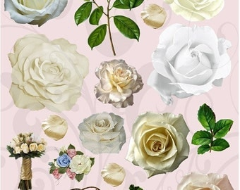 All White Roses Collage Sheet 2wrc