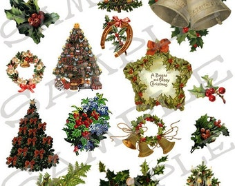 Christmas Trees and Greenery Collage Sheet 1ct You will get a JPEG Sheet and Individual Png Images
