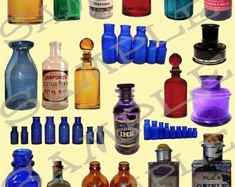 Medicine and Potion Bottles Collage Sheet 1