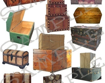 Trunks Chests and Suitcases Collage Sheet 1tc You will get Jpeg Sheet & Individual PNG Images