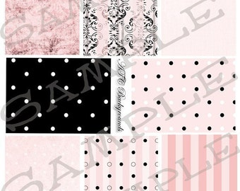 ATC Backgrounds Pinks and Blacks Collage Sheet 2pb