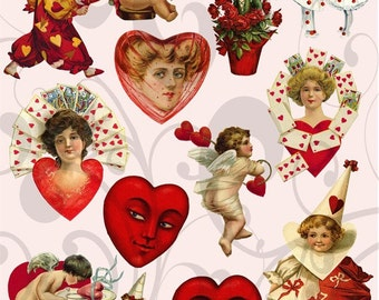 Vintage Valentines clipart Collage Sheet 33 You Will Get a Jpeg sheet and Individual Png Images