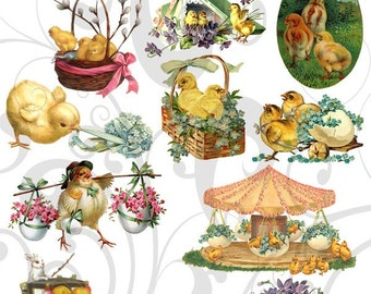 Olde Cutz Easter Chicks Clipart Collage Sheet 234occ Single PNG images