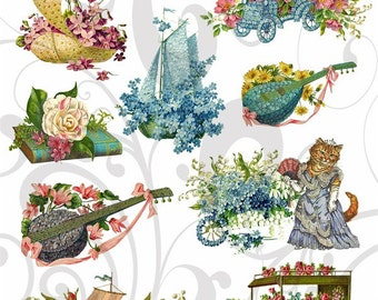 Flower Items Collage Sheet 1fic PNG Individual Graphics