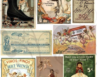 More Old Vintage Ad Labels Collage Sheet 3mval