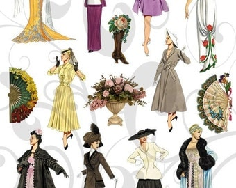 Collage Sheet Vintage Clipart Women Jpeg and Individual Png Images