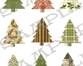Traditional Christmas Tree Collage Sheet 2TC PNG Format Sheet