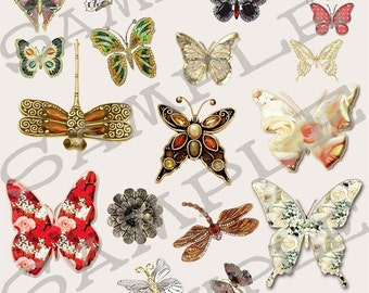 Butterfly and Dragonfly Gems Collage Sheet 1db Single PNG Images