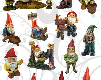 Many Tiny Garden Gnomes  Collage Sheet You Will Get A Jpeg Sheet and Individual Png Images