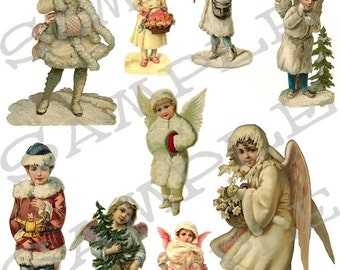 Christmas Winter Time Snow Children Collage Sheet 1wwc