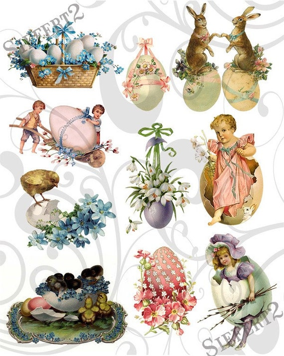 Old Cutz Easter Egg Collage Sheet 4ec Single PNG Images