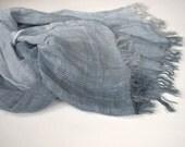 Scarf women men natural linen blue grey shade summer autumn fashion