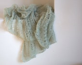 Knit scarf extra long hand knitted mohair shawl sea waves color