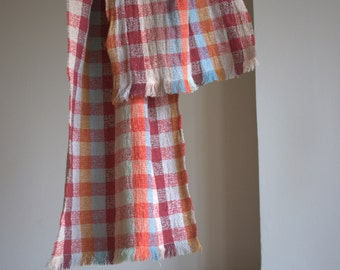 Pure linen scarf for women and men checked chequered
