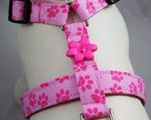Dog Harness - Pink Paw Prints