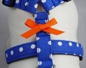 Dog Harness - Blue Polka Dot