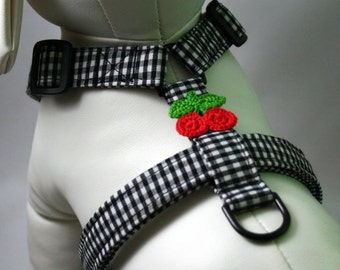 Dog Harness - Black Gingham with Cherries on Top