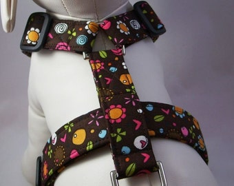 Dog Harness - Whimsical Brown Floral