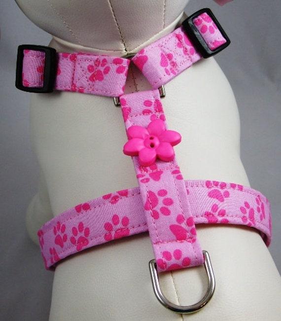 Dog Harness - Pink Paw Prints