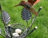 Hummingbird Nest Garden Stake