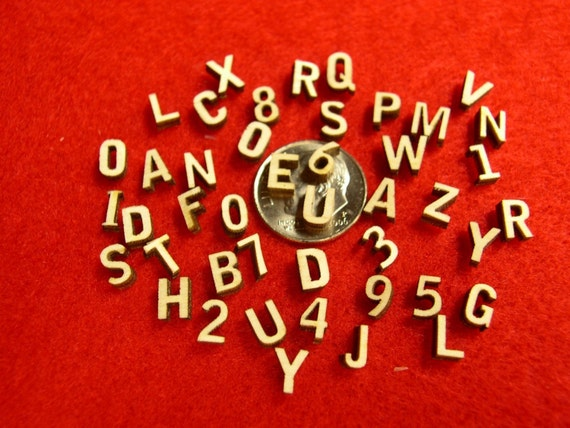 Small Miniature Wood Letters and Numbers - 49 Laser Cut 1/4 inch pieces