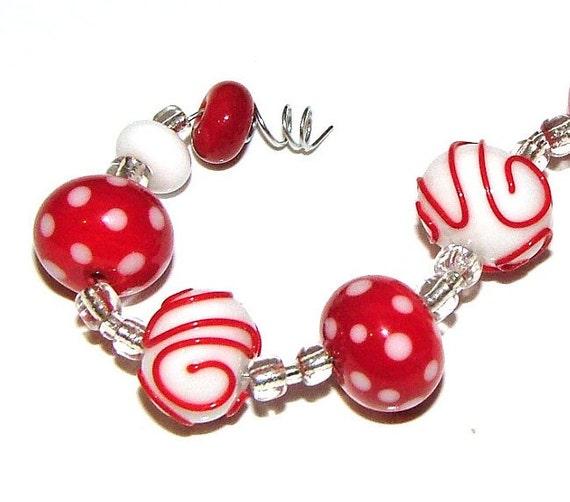 Rich Ruby - AlyDan Lampwork Beads - (11) Custom Made Beads - SRA