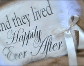 Double sided 'Here comes the bride' 'And they lived happily ever after' burlap sign/banner, for flower girl or ring bearer