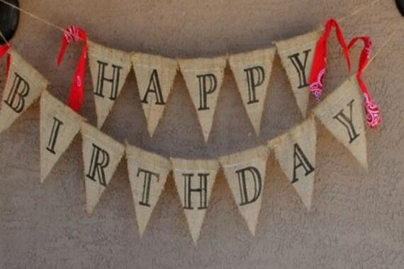 Happy Birthday Western/Cowboy-Cowgirl theme/Burlap Banner
