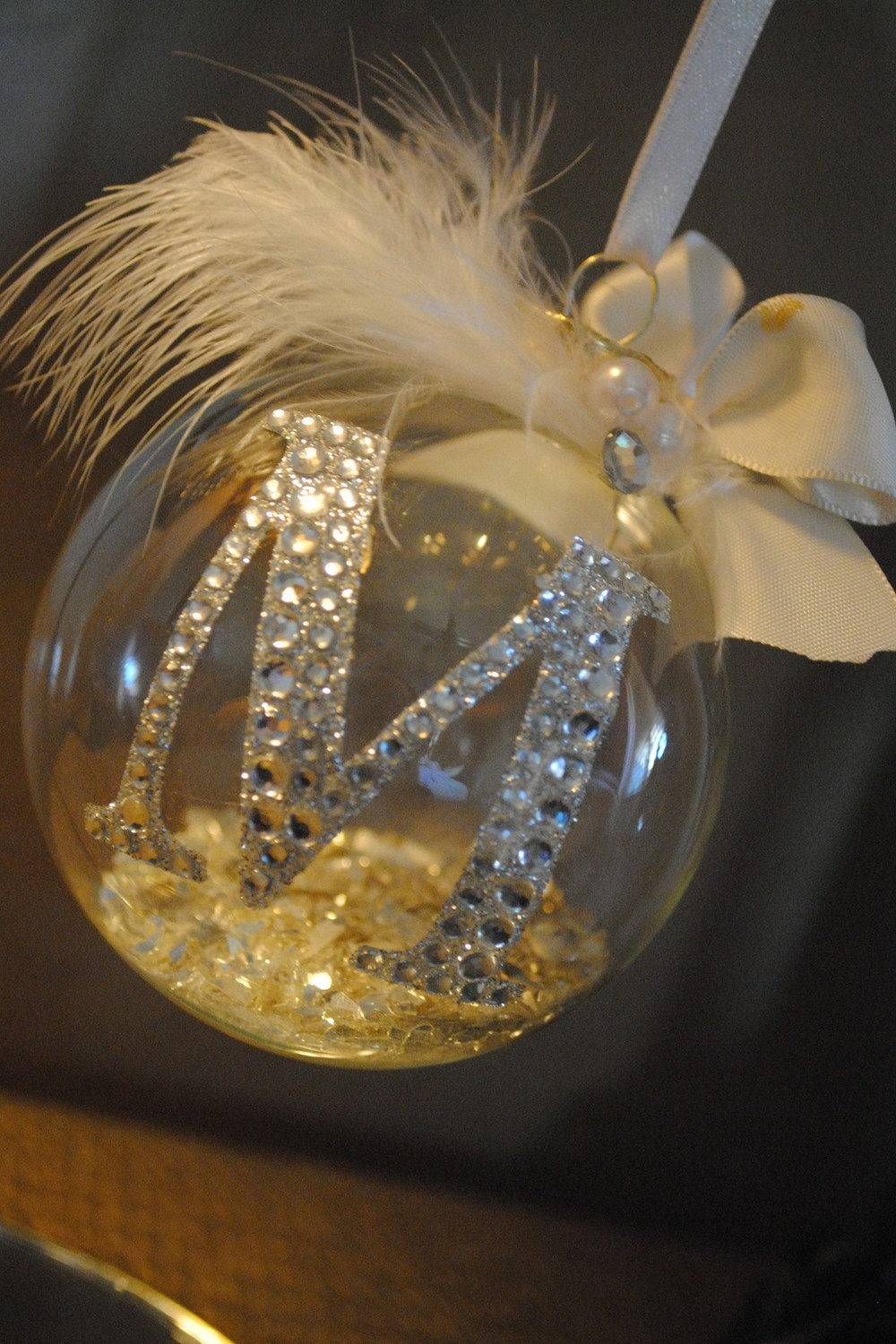 Rhinestone Monogram Christmas Ornament