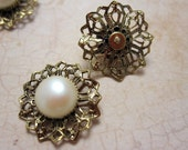 BANANA BOB - Vintage Filigree Brass and Pearl Cab Finding or Charm - 2