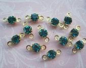 FREE shipping- Vintage Swarovski Blue Zircon Crystal Connectors - UPDATED! - 24 CONNECTORS