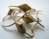 DIAMOND Shape Antique Brass Ear Wires - 10